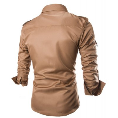 ФОТО Fashion Uniform Style Shirt Collar Fitted Epaulet and Zipper Design Long Sleeve Polyester Shirt For Men