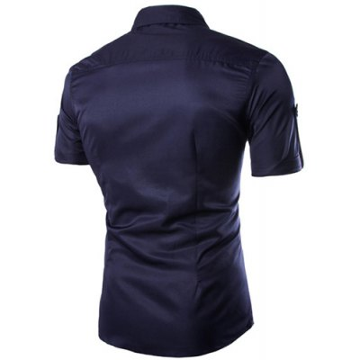 ФОТО Fashion Shirt Collar Fitted Multi-Pocket Curling Edge Short Sleeve Polyester Shirt For Men