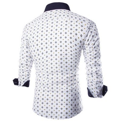 ФОТО Fashion Shirt Collar Fitted Tiny Argyle Print Color Block Splicing Long Sleeve Polyester Shirt For Men