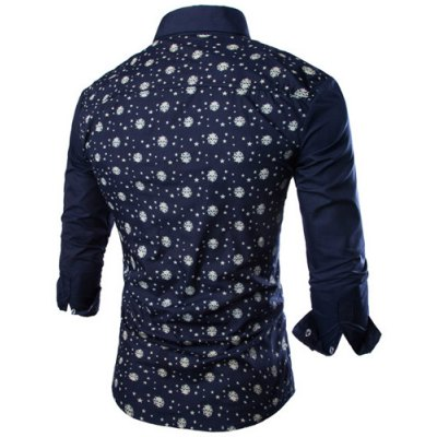 ФОТО Fashion Shirt Collar Fitted Tiny Skull and Five-Point Star Print Long Sleeve Polyester Shirt For Men