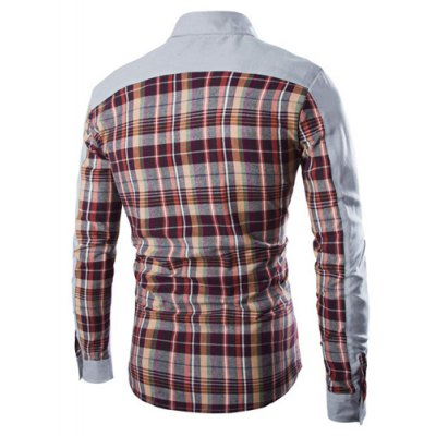 Гаджет   Fashion Shirt Collar Fitted Pocket Design Color Block Plaid Splicing Long Sleeve Polyester Shirt For Men Shirts