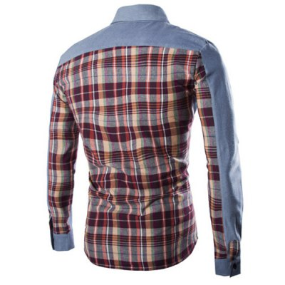 ФОТО Fashion Shirt Collar Fitted Pocket Design Color Block Plaid Splicing Long Sleeve Polyester Shirt For Men