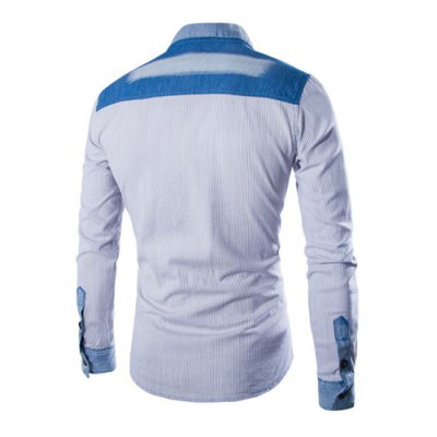 ФОТО Fashion Shirt Collar Fitted Pinstripe Color Block Denim Splicing Long Sleeve Polyester Shirt For Men