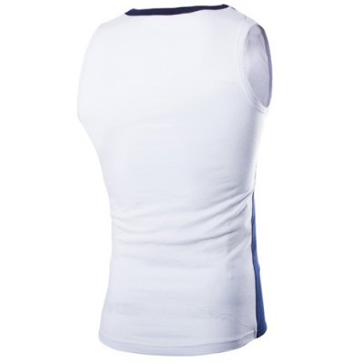 ФОТО Fashion Round Neck Slimming Color Block Splicing Sleeveless Polyester Tank Top For Men