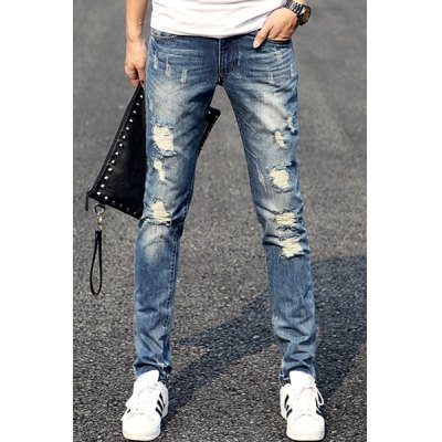 Fashion Holes and Cat's Whisker Design Slimming Narrow Feet Men's Jeans