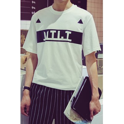 ФОТО Fashion Round Neck Slimming Color Block Letter Triangle Print Short Sleeve Cotton Blend T-Shirt For Men