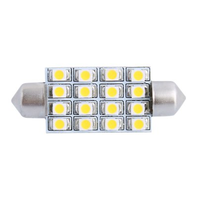 42mm 4W 16 x SMD 3528 200LM 3000K Double Pointed LED for Car Reading / License Plate / Door Lamp - 12V