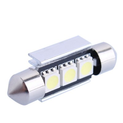 Double Pointed 36mm 1W 50LM 6000K SMD - 5050 3 LEDs Cold White LED Car