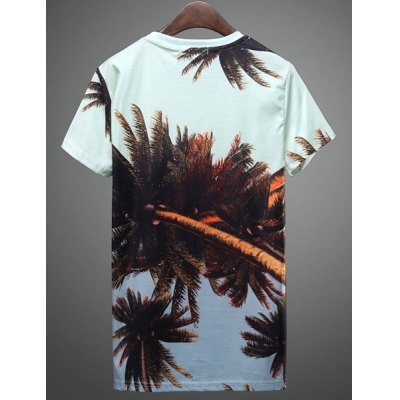 Гаджет   Summer Hot Sale Fashion Slimming Round Neck 3D Coconut Tree Print Short Sleeves Men