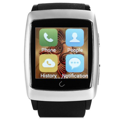 U Watch U18 Android 4.4 Smart WiFi Watch Bluetooth 4.0 GPS Weather Display Wristwatch - U WatchSmart Watches<br>U Watch U18 Android 4.4 Smart WiFi Watch Bluetooth 4.0 GPS Weather Display Wristwatch<br><br>Brand: U-Watch<br>Built-in chip type: MTK6571<br>Bluetooth version: Bluetooth 4.0<br>RAM: 512M<br>ROM: 4GB<br>Bluetooth calling: Call log sync, Dialing, Phonebook<br>Messaging: Message reminder<br>Health tracker: Sleep monitor, Pedometer<br>Remote control: Camera remote, Music remote<br>Notification: Yes<br>Find phone: Yes<br>Other functions: Stopwatch, Calender, Voice recorder, GPS, Compass, Alarm<br>Screen: IPS<br>Screen resolution: 240 x 240 px<br>Screen size: 1.54 inch<br>Battery type: Lithium-ion polymer battery<br>Battery capacity: 360mAh / 3.7V<br>People: Unisex watch<br>Charging interface : Mirco USB<br>Shape of the dial: Rectangle<br>Case material: Stainless Steel<br>Band material: TPU<br>Compatible OS: Android<br>Compatability: Android 4.4 and above system<br>Language: Dutch, French, Romanian, Portuguese, Italian, Arabic, Indonesian, English<br>Available color: Black, Gold, Silver<br>Dial size: 5.0 x 4.0 x 1.1 cm / 1.57 x 1.97 x 0.43 inches<br>Wearing diameter: 16.5 - 23 cm / 6.10 - 8.46 inches<br>The band width: 2.3 cm / 0.91 inches<br>Product size (L x W x H) : 25 x 4 x 1.1 cm / 9.83 x 1.57 x 0.43 inches<br>Package size (L x W x H): 10.2 x 10.2 x 8.5 cm / 4.01 x 4.01 x 3.34 inches<br>Product weight: 0.063 kg<br>Package weight: 0.2 kg<br>Package contents: 1 x U Watch U18 Smart Bluetooth WiFi Watch, 1 x USB Cable, 1 x Chinese and English Manual, 1 x Box