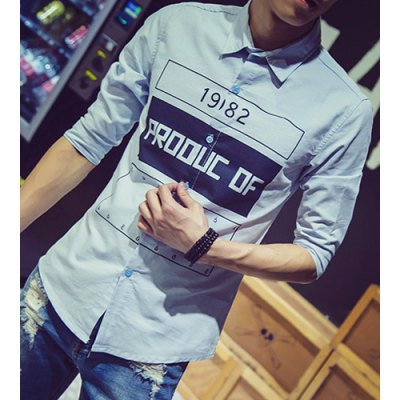 ФОТО Fashion Shirt Collar Slimming Color Block Letter Number Print Half Sleeve Cotton Blend Shirt For Men
