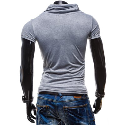 Фотография Summer Fashion Piles Collar Slimming Solid Color Button Design Short Sleeve Polyester T-Shirt For Men