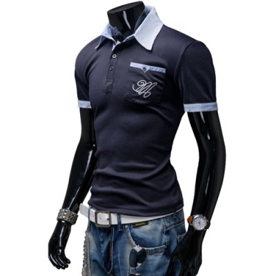 ФОТО Fashion Turndown Collar Slimming Color Block Splicing Embroidered Short Sleeve Polyester Polo T-Shirt For Men