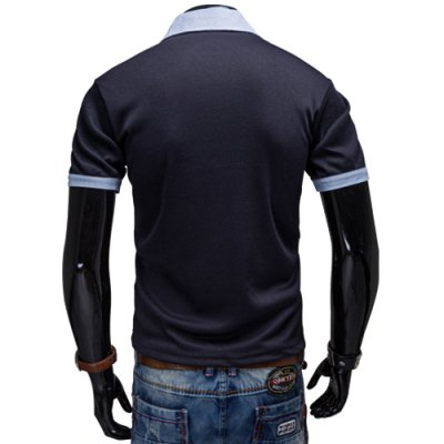 Фотография Fashion Turndown Collar Slimming Color Block Splicing Embroidered Short Sleeve Polyester Polo T-Shirt For Men