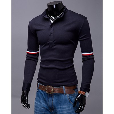 ФОТО Fashion Stand Collar Slimming Color Block Stripe Ribbon Long Sleeve Polyester Polo T-Shirt For Men