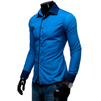 ФОТО Fashion Shirt Collar Slimming Color Block Splicing Design Long Sleeve Polyester Shirt For Men