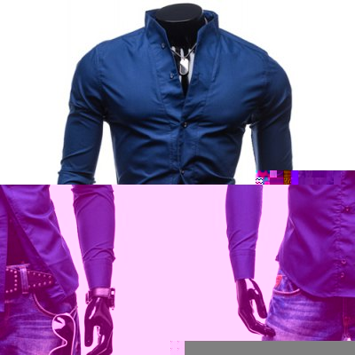 Fashion Stand Collar Slimming Simple Solid Color Long Sleeve Polyester Shirt For Men