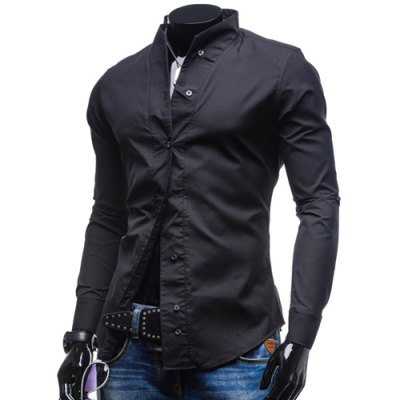 Гаджет   Fashion Stand Collar Slimming Simple Solid Color Long Sleeve Polyester Shirt For Men Shirts