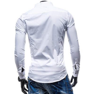 Фотография Fashion Stand Collar Slimming Simple Solid Color Long Sleeve Polyester Shirt For Men