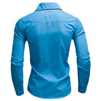 ФОТО Fashion Shirt Collar Slimming Color Block Placket Button Design Long Sleeve Polyester Shirt For Men