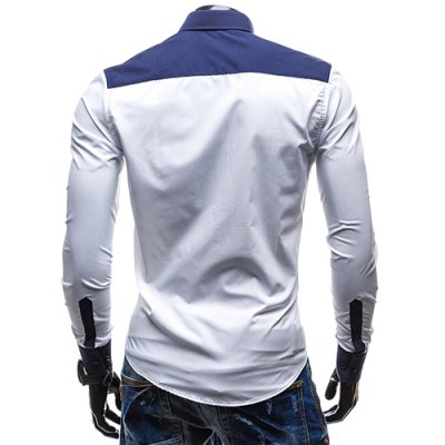 Фотография Fashion Shirt Collar Slimming Irregular Three Color Splicing Long Sleeve Polyester Shirt For Men