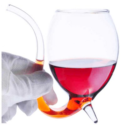 Fashion High Borosilicate Glass Vampire Red Wine Cup Transparent Red Wine / Juice Cup with Drinking Tube