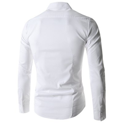 Refreshing Fitted Turn-down Collar Beads Embellished Long Sleeves Men