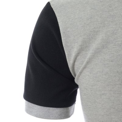 Фотография Personality Color Splicing Turn-down Collar Fitted Short Sleeves Men