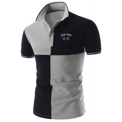 Гаджет   Stylish Fitted Turn-down Collar Color Lump Splicing Short Sleeves Men