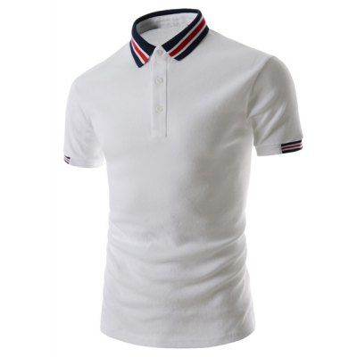 Гаджет   Refreshing Turn-down Collar Stripes Splicing Fitted Short Sleeves Men