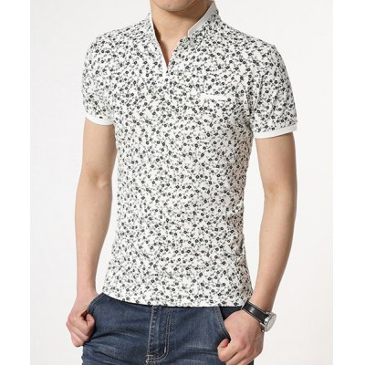 Fashionable Fitted Stand Collar Floral Print Breast Pocket Design Short Sleeves Mens Cotton Blend T-ShirtMens Short Sleeve Tees<br>Fashionable Fitted Stand Collar Floral Print Breast Pocket Design Short Sleeves Mens Cotton Blend T-Shirt<br><br>Material: Cotton, Polyester<br>Sleeve Length: Short<br>Collar: Mandarin Collar<br>Style: Fashion<br>Weight: 0.270KG<br>Package Contents: 1 x T-Shirt<br>Embellishment: Pockets<br>Pattern Type: Floral