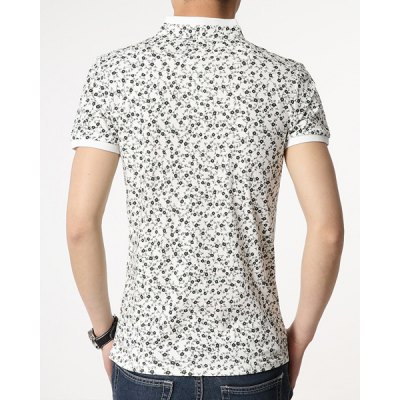 Фотография Fashionable Fitted Stand Collar Floral Print Breast Pocket Design Short Sleeves Men