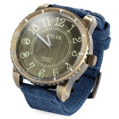 Miler A8268 Big Bronze Dial Quartz Watch with Canvas Strap for Men