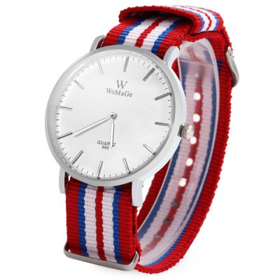 ФОТО Womage 699 Unisex Quartz Watch with Colorful Stripes Canvas Band
