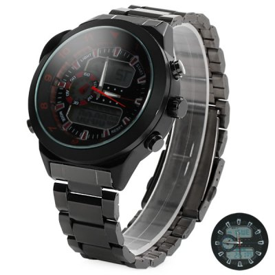 ФОТО Kaletco 1040 Compass Display Double Movt Male LED Sports Military Watch with Stainless Steel Band