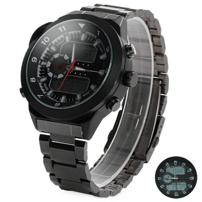 Гаджет   Kaletco 1040 Compass Display Double Movt Male LED Sports Military Watch with Stainless Steel Band