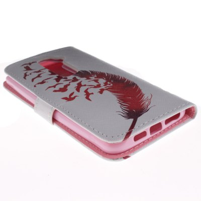 ФОТО Red Feather Style PU Protective Cover Case with Stand and Card Holder for LG Optimus G2