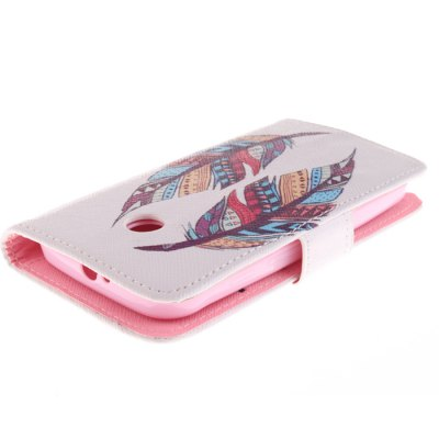 Фотография Mixed Color Feather Design PU Full Body Cover Case with Stand for Motorola Moto E