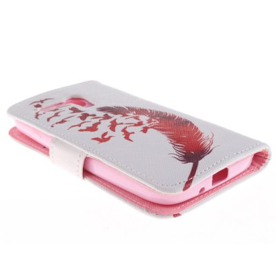 Гаджет   Stylish Red Feather and Birds Protective PU Cover Case with Stand for Motorola Moto G Other Cases/Covers