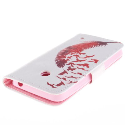 Фотография Red Feather and Birds Pattern PU Flip Cover Case with Stand Card Holder for Nokia Lumia N630