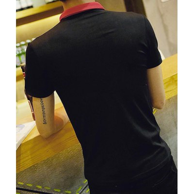 Гаджет   Fashion Color Splicing Fitted Turn-down Collar Short Sleeves Men