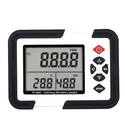 XINTEST HT-2000 CO2 Monitor Meter LCD Display Carbon Dioxide Data Logger Detector with Temperature / Relative Humidity Tester