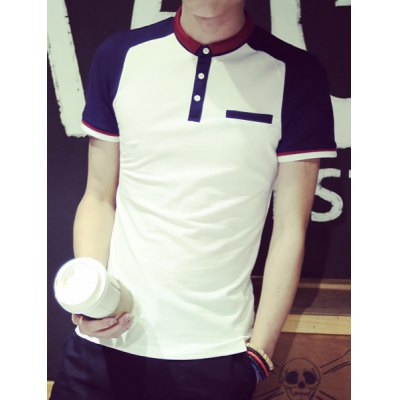 ФОТО Trendy Multicolor Splicing Turndown Collar Short Sleeve Slimming Cotton Blend Polo T-Shirt For Men