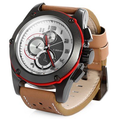 S.waves Date Function Quartz Watch Leather Band Male Wristwatch