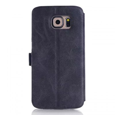 Фотография Crazy Horse Solid Style PU Cover Case with View Window Stand for Samsung GALAXY S6 Edge