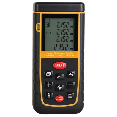 60M LCD Display Laser Distance Meter Digital Range Finder Laser Tape Measure with Bubble Level