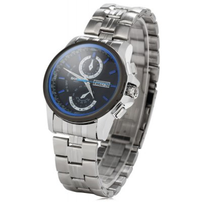 Bariho H081 Day Date Display Men Quartz Watch with Stainless Steel Band