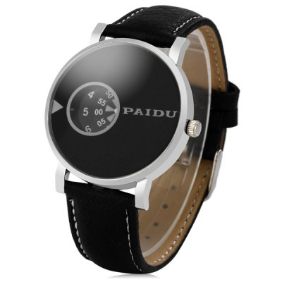 Paidu 58967 Japan Movt Male Quartz Watch Rotational Scale Leather Strap Wristwatch