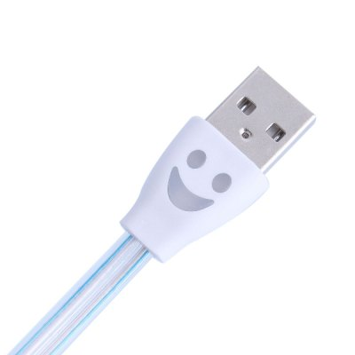 Creative LED Smile Face USB Cable 1m Flat Noodle Pattern