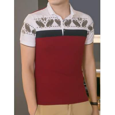 ФОТО Trendy Turndown Collar Paisley Print Color Block Splicing Slimming Short Sleeve Cotton Blend Polo T-Shirt For Men